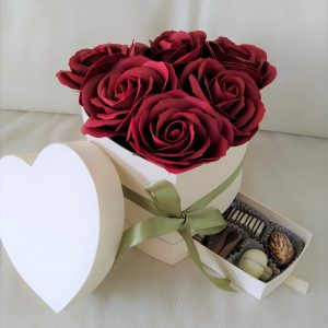 Heart Box Chocolates & Flowers